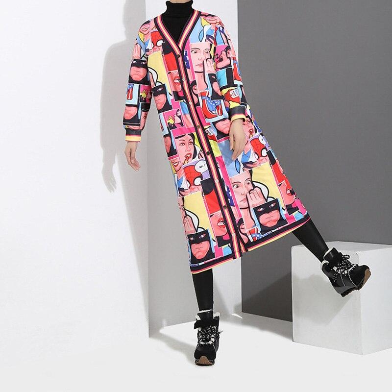 Col Femme Manteaux 2017 Hiver Femmes Manteau V Imprimé Rembourré Hijklnl Mujer Na527 D Multi Long Harajuku Veste Unique Poitrine tzpqdtfw