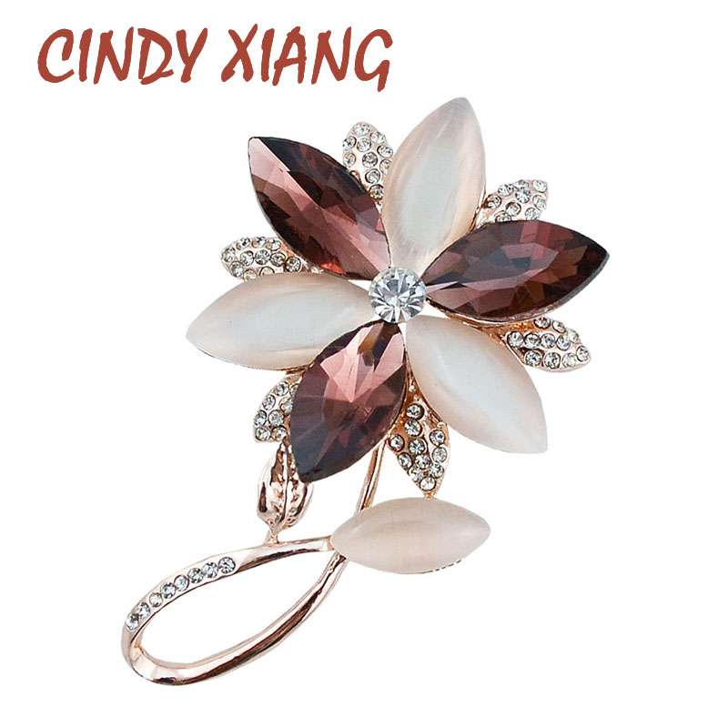 CINDY XIANG Opal and Crystal Flower Brooches and Pins for women Lead Free Zinc Alloy Brooches Summer Dress Jewelry Hot Sale