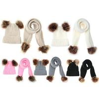 2pcs Set Cute Winter Baby Infant Hat Scarf Clothing Set Warm Crochet Knitting Double Fur Balls