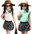 Children's clothing female child summer child 2015 vest and polka dot shorts fashion set kids clothes female big girls twinset