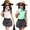 Vestuário feminino criança criança verão 2015 das crianças colete e calções polka dot set moda crianças do sexo feminino meninas grandes twinset