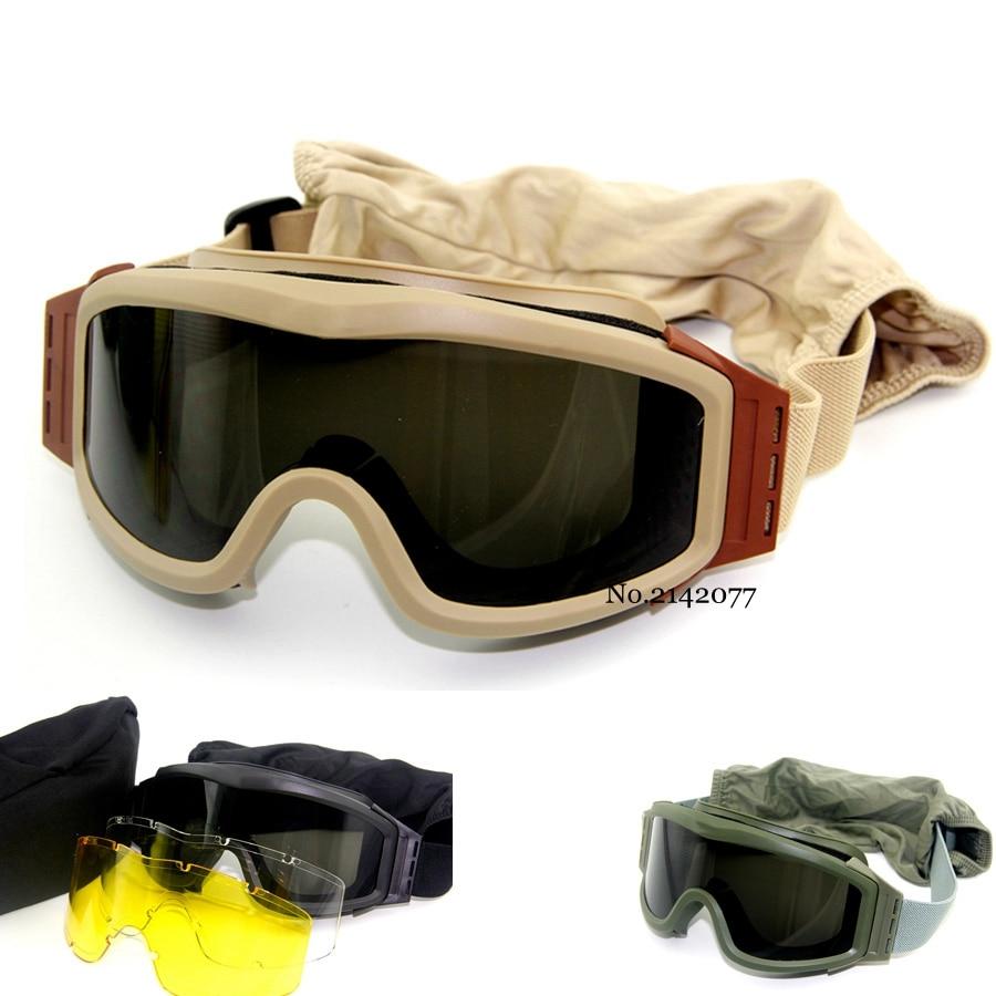 למעלה איכות צבאי Airsoft טקטי משקפי ירי משקפיים GX1000 שחור 3 עדשת אופנוע Windproof Wargame משקפי