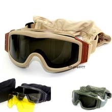 Military Airsoft Tactical Goggles Safety Glasses Combat 3 Interchangeable Anti-Fog tactical goggles