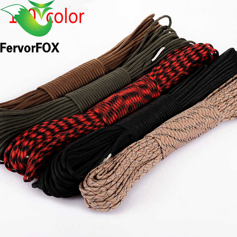 100 kleuren Paracord 550 Paracord Parachute Cord Lanyard Rope Mil Spec Type III 7 Strand 100FT Klimmen Camping survival apparatuur