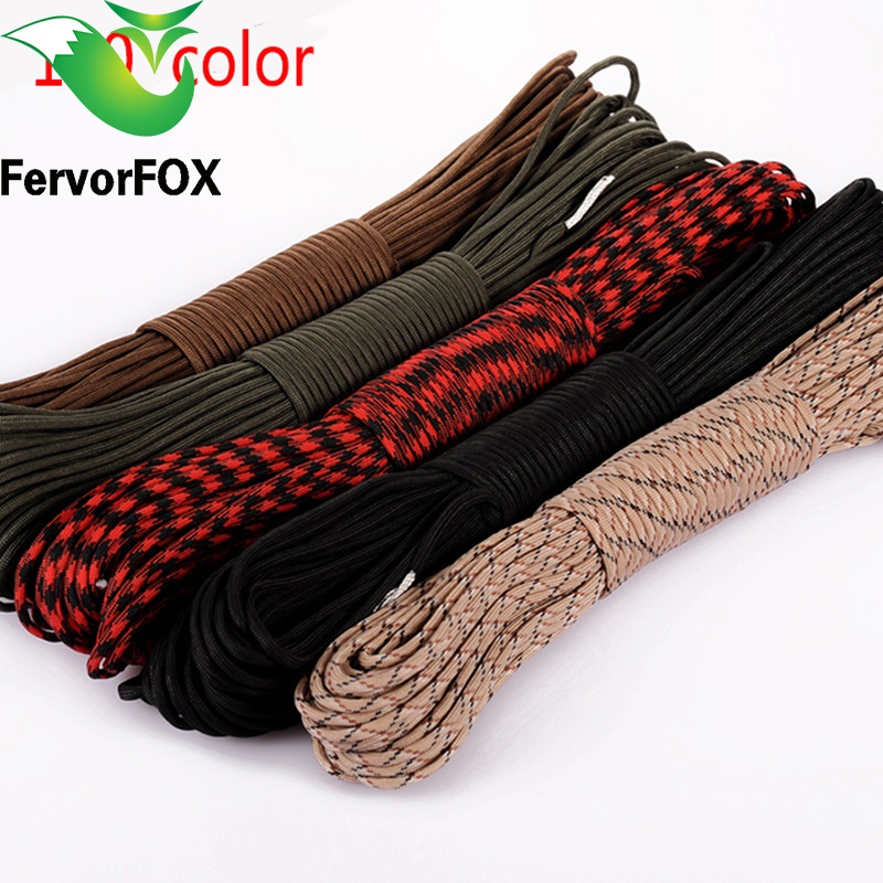 100 colors Paracord 550 Paracord Parachute Cord Lanyard Rope Mil Spec Type III 7Strand 100FT Climbing Camping survival equipment 25 50 100ft paracord 550 paracord parachute cord lanyard rope mil spec type iii 7 strand climbing camping survival equipment