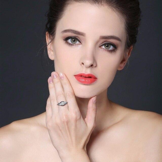 [NERO AWN] 3.5 grammo 100% Genuino Argento 925 Gioielli In Argento Bianco e Nero Pietra Anelli di Cerimonia Nuziale per Le Donne c307