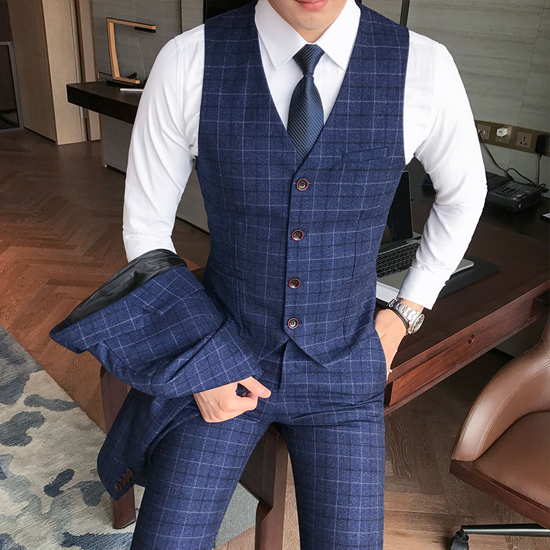 Luxury Men's Check Vest Suit Trousers 2019 Men's Formal Wear Wedding Dress Large Size Casual Business Men's Suit Vest Trousers