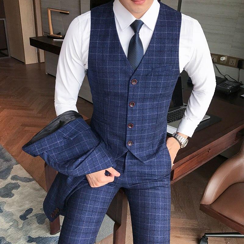 Luxury Men's Check Vest Suit Trousers 2019 Men's Formal Wear Wedding Dress Large Size Casual Business Men's Suit Vest Trousers