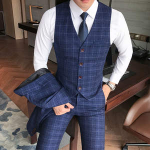 Vest Suit Wedding-Dress Formal-Wear Business Check Casual Large-Size Men's Trousers Luxury
