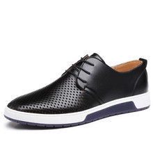 ELGEER NEW Men Casual Shoes Summer Breathable Leather Holes Luxury Brand Flat Shoes for Men Driving Shoes Men's Boat Shoes 38-46 2017 new arrival high quality genuine leather luxury brand summer men casual shoes breathable holes black brown khaki