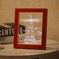 3D CONDUZIU a Luz do Farol De Madeira Picture Frame Decoração do Quarto da Lâmpada de Mesa USB Luzes Da Noite Lâmpada de Mesa luz Da Noite Presentes