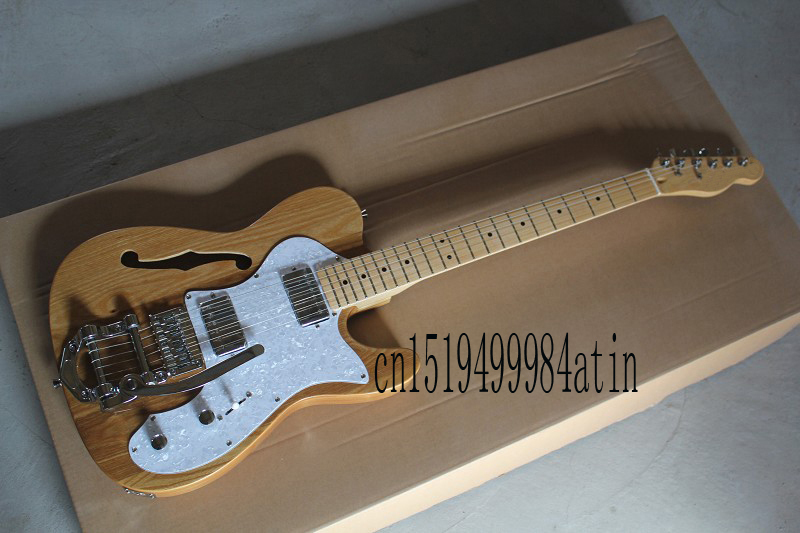 Free Shipping F Telecaster Semi Hollow Body F Hole Jazz Electric Guitar Natural Wood Bigsby Big Rocker Chrome Hardware In s  @14 free shipping semi hollow body es335 red electric jazz guitar es 335 new guitars f hole flower point inlay high quality mahogany
