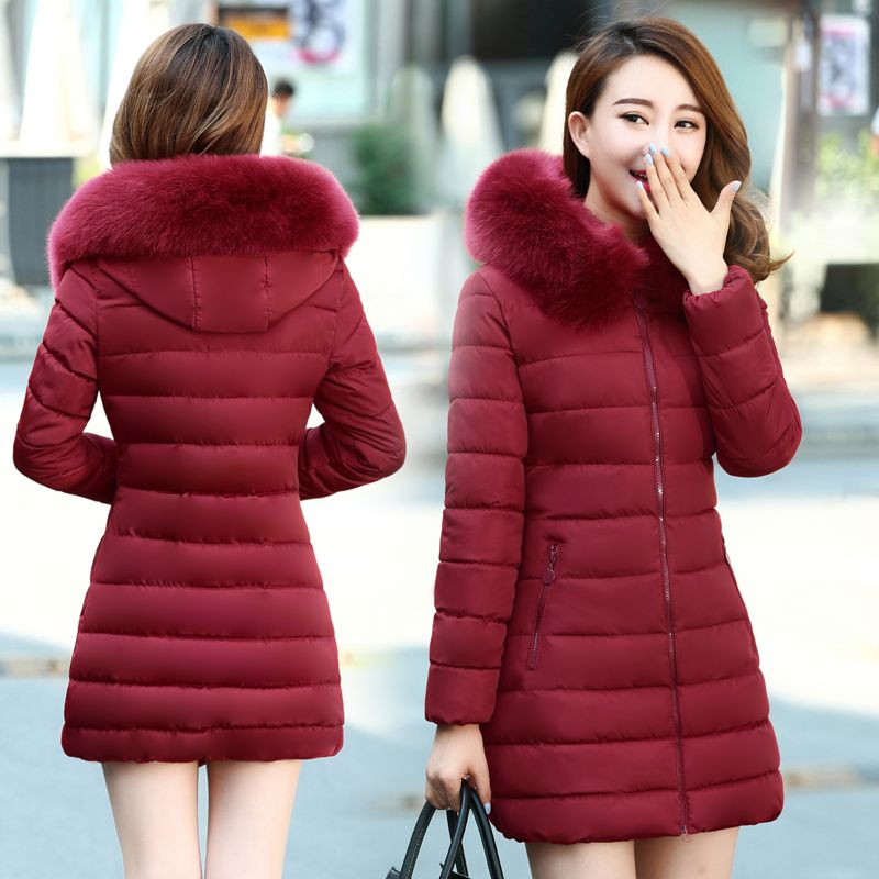 2018 Young ladies winter long hooded down thick cotton down jacket 30 to 40 years old