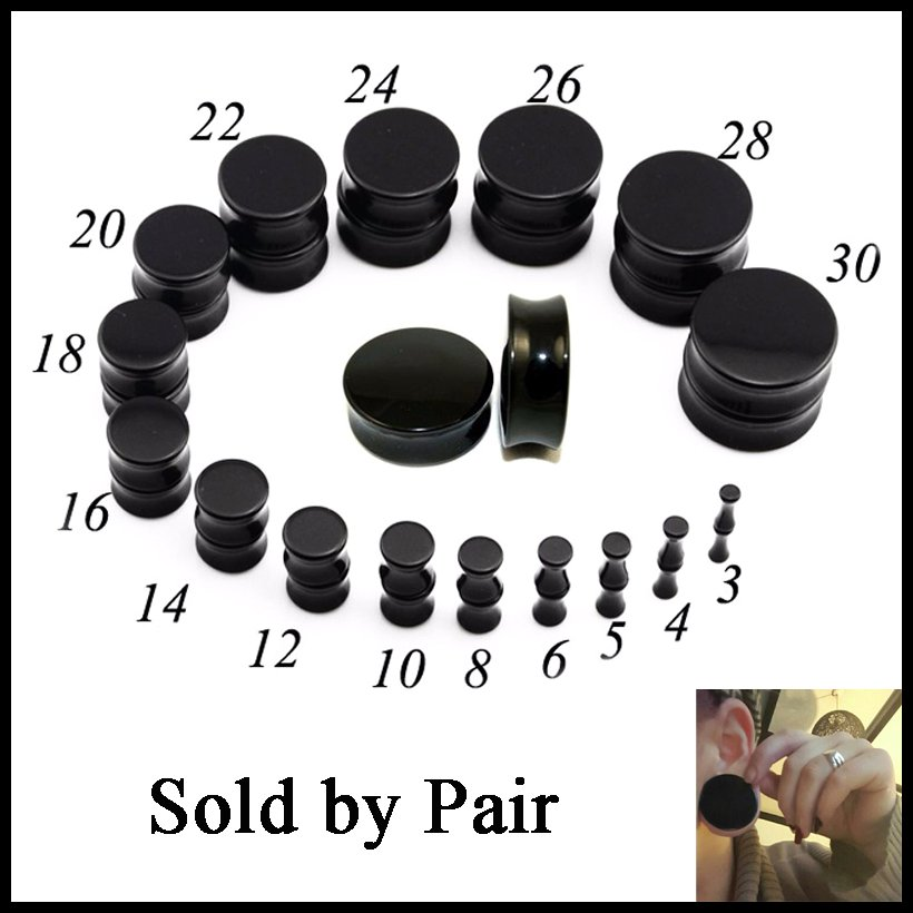 Pair Black Acrylic Double Flared Ear Saddle Plugs Piercing Ear Stretcher Expander Ear Gauges Piercing Body Jewelry 3mm-30mm
