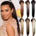 """24"""" Long Straight Hair Claw Clip Drawstring Ponytail Synthetic Fake Hair Pony Tail Tress Extension False Hair Ponytail Extension"""
