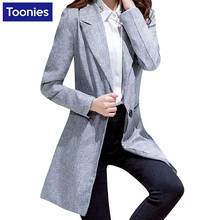 2017 New Autumn Long Women Blazers And Jackets Single Button Gray Blazer Women Jacket Casual Long Sleeved Blazer Feminino Longo