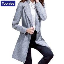 Новинка 2017 года осень длинные Для женщин Пиджаки и Куртки и пиджаки одной кнопки серый пиджак Для женщин куртка Повседневное Длинные рукава блейзер feminino Longo