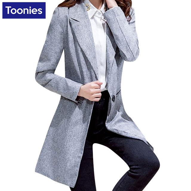 2017 Nova Outono Mulheres Blazers E Jaquetas Blazer Mulheres Único Botão Cinza Jaqueta Casual de Manga Comprida Blazer Feminino Longo
