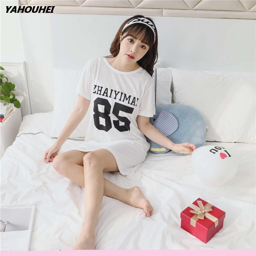 Women Nightgowns Sleepshirts 2018 Women Sleepwear Robe Summer Nightgown Nightdress Casual Home Dress Womens Cotton Nightgown