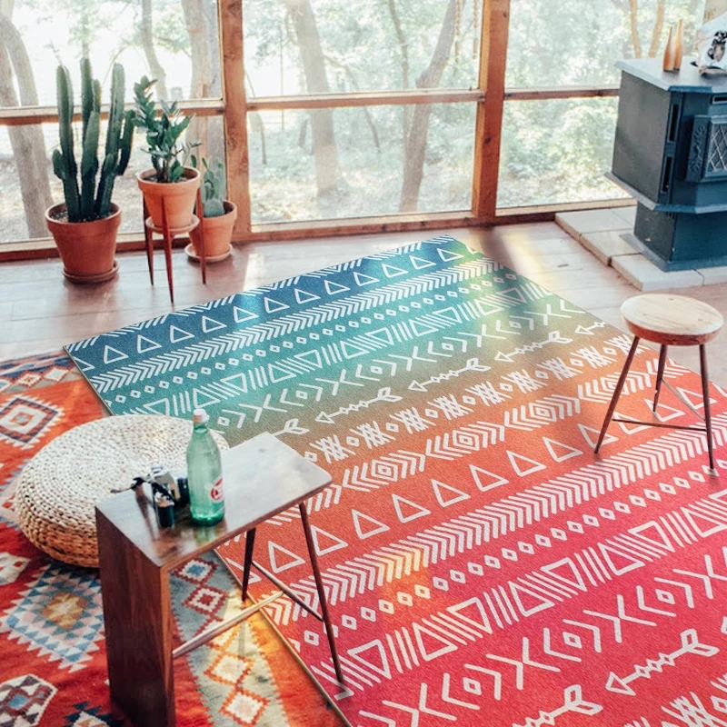 Rainbow color geometric pattern bedside carpet ,120*180cm living room carpet, rectangle ground mat , home decoration floor mat