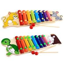 ทารกการศึกษาแรกของเด็กการ์ตูนเต่ากระต่าย8ที่สำคัญบันทึกของเล่นมือไม้เคาะเปียโนเครื่องดนตรีของเล่น