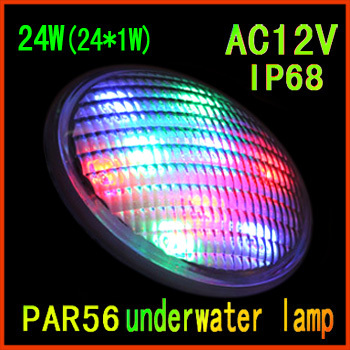 Factory direct sale led swimming pool 24W(24*1W) single color Par56 underwater led pool light free shipping
