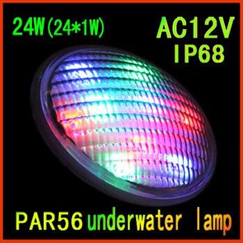 Vente directe d'usine led piscine 24 W ( 24 * 1 W ) de couleur unique Par56 underwater led piscine lumière livraison gratuite