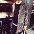 Весна Зима стильный стиль случайный фитнес ВЫСОКОЕ качество ткани толщиной мужчины тренч Англия винтажном стиле ptint мужчина пальто