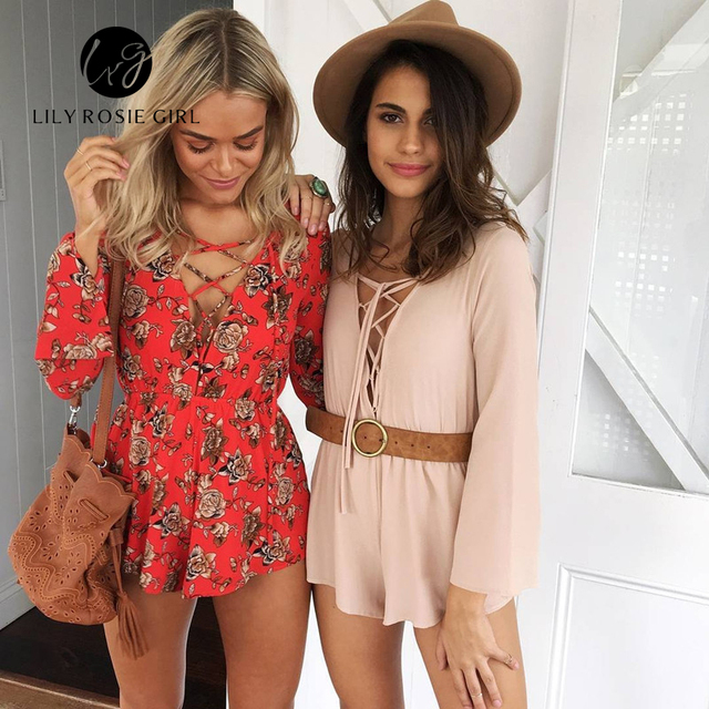 Boho Sexy Lace Up Deep V Neck Red Floral Print Women Playsuits Elegant Summer 2016 Backless Rompers Short Overalls Jumpsuit