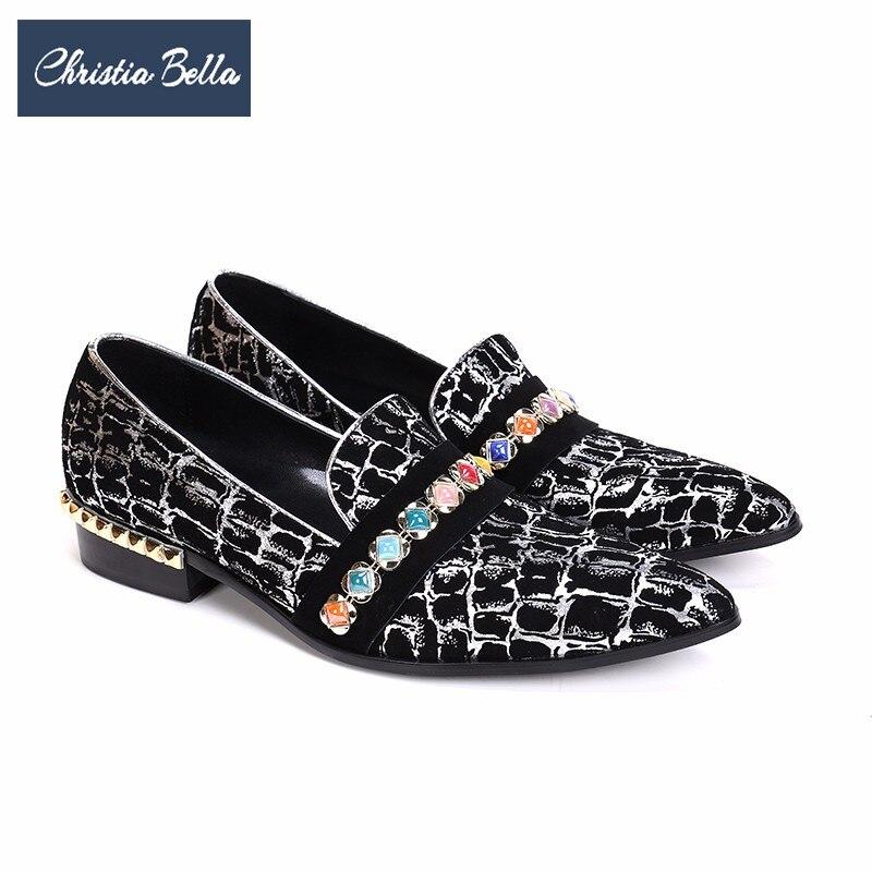Christia Bella créateur de mode Gem hommes chaussures habillées impression de fête de mariage chaussures formelles sans lacet en cuir chaussures hommes mocassins