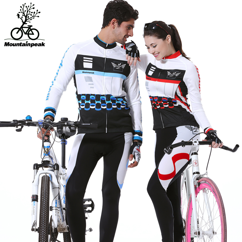 2016 Couple Long Sleeve Bike Riding Jerseys Sets Quick Dry Gel Breathable Pad Stretchable 3D Cutting Cycling Clothing Equipment