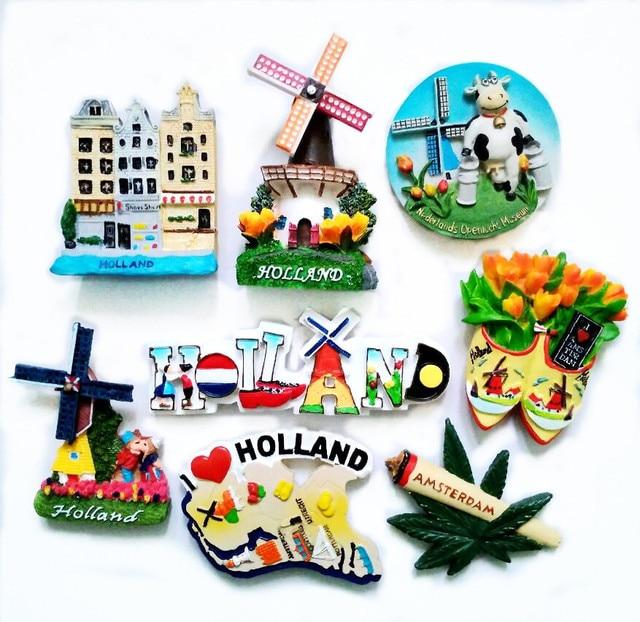 Imanes de nevera 3D de molino de tulipán de Holanda