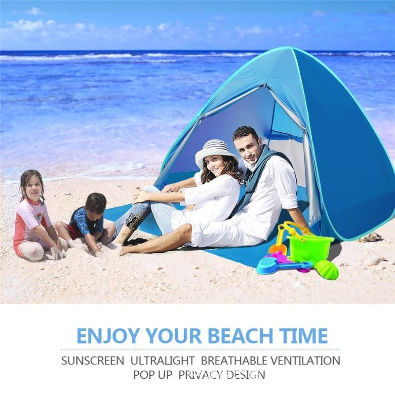 Double Automatique tente de plage protection uv tente-roulotte pare-soleil Auvent avec Tapis En Plein Air tente à reste