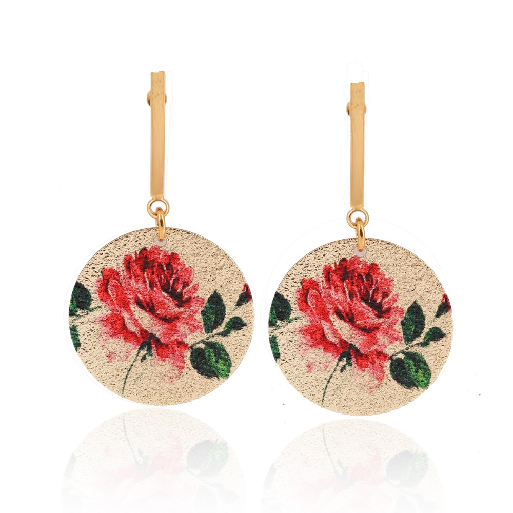 2017 Unique Charm Geometric Round Drop Earrings Vintage High Quality Enamel Beautiful Lotus Flower Dangle Earrings for Women