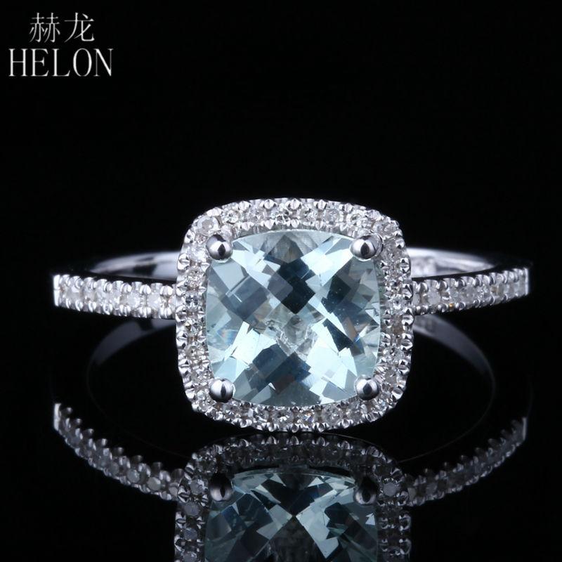 HELON 925 Sterling Silver 7x7mm Cushion 1 3ct 100 Genuine Aquamarine Natural Diamonds Ring Exquisite Gemstone