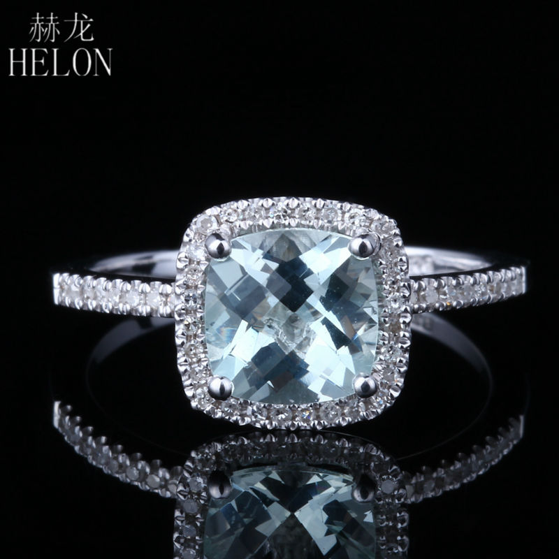Takı ve Aksesuarları'ten Halkalar'de HELON 925 Sterling Silver 7x7mm Cushion 1.3ct 100% Genuine Aquamarine Natural Diamonds Ring Exquisite Gemstone Jewelry Fine Ring'da  Grup 1