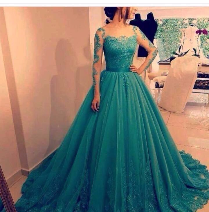 Customized Ball Gown Teal Blue Prom Dress 2018 Long Sleeves Lace Applique Elegant Saudi Arabia Formal