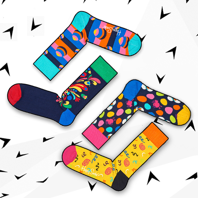 Purposeful Colour Crew Cotton Happy Socks Men Women British Style Casual Fashion Novelty Art For Couple Funny Socks 1pair=2pcs Ms04 Underwear & Sleepwears