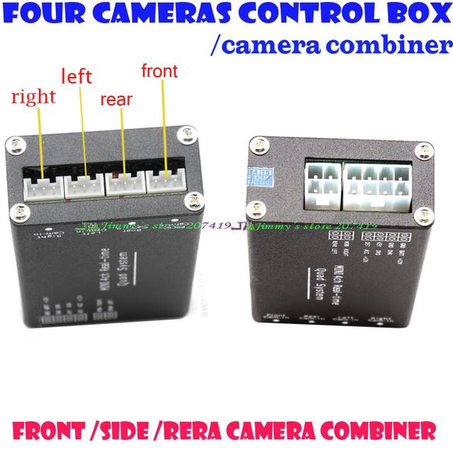 Free Shipping Car Four Cameras Image Switch Combiner Box for Left,Right,Front,Rear Parking Camera System 4 Cameras Video Control