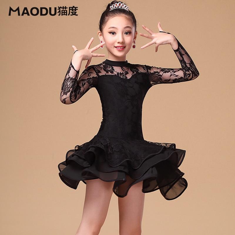 Högkvalitativ ny designer barn Samba / latin dansklänning mjuk spets dans kostymer långärmad svart tjejer Salsa klänningar