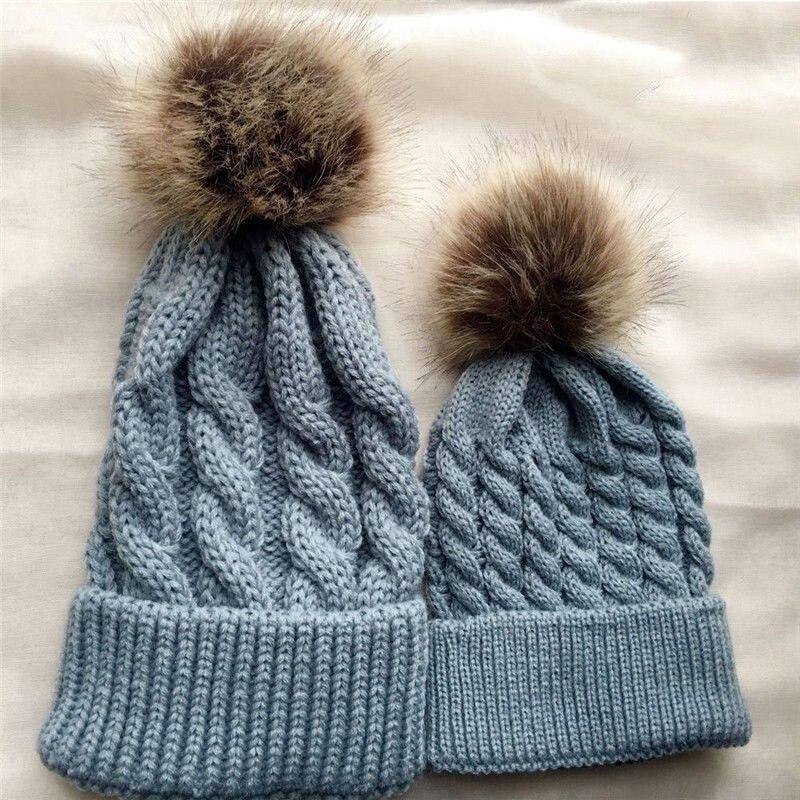 ... Family Matching Hat Mother Baby Women Kids Girls Boys Knit Pom Bobble  Hat Winter Warm Beanie ... f7fbed4f5828
