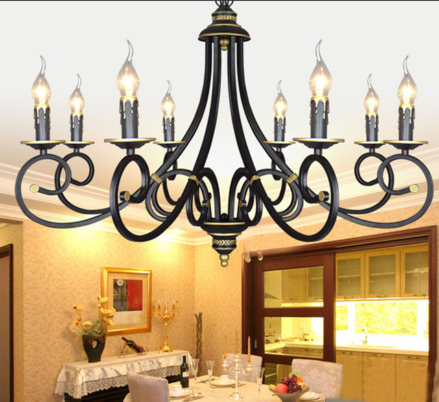 European Black Wrought Iron Candle Chandelier Lighting 3/5/6/8 Heads E14