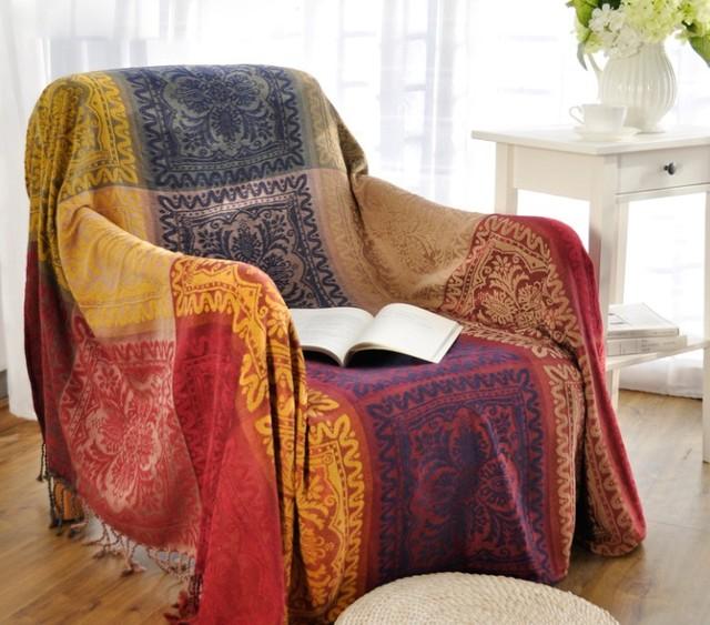 220x260cm Throw Chenille Printing Blanket Jacquard Tapestry Sofa Cover With Tels Muslim Arab Carpet