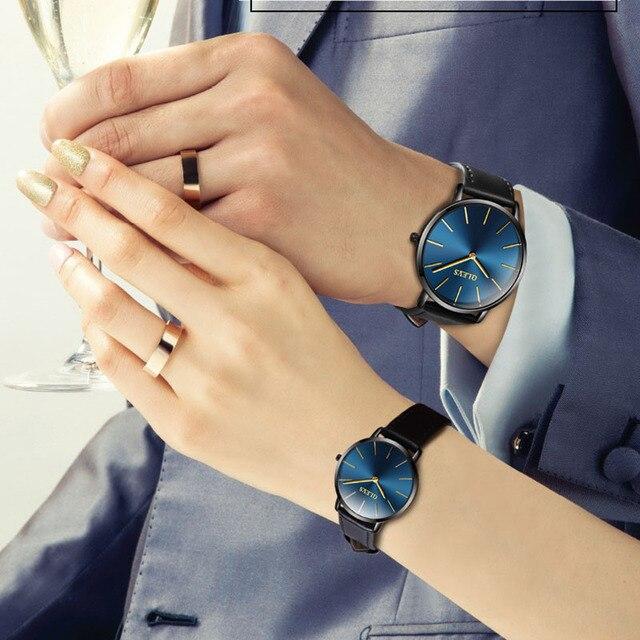 cf5a1772667 OLEVS relógios Casal Marido E Mulher Relógio Marca de Luxo Mulheres de Couro  À Prova D