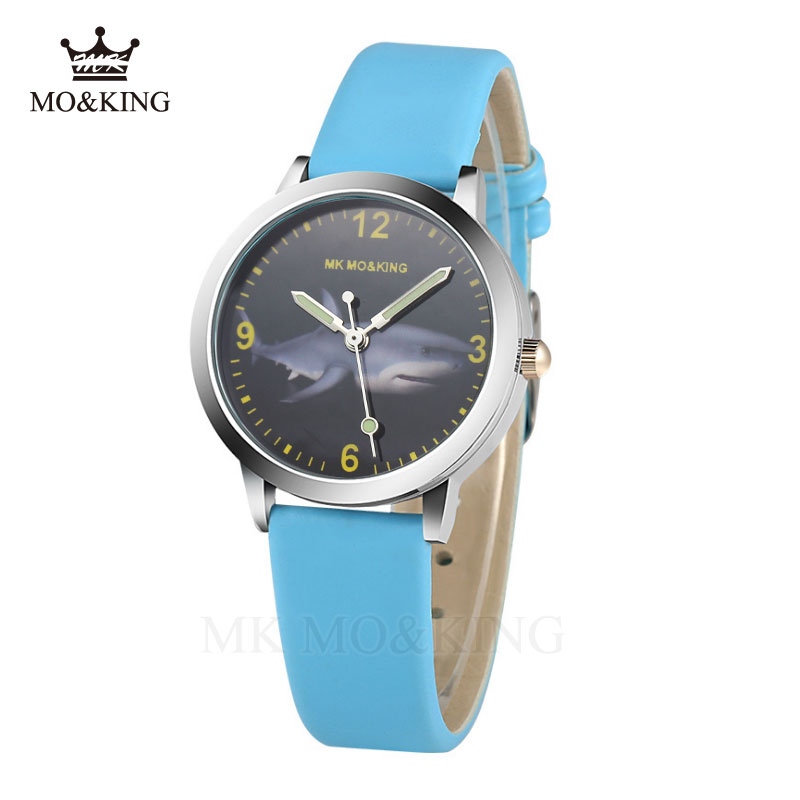 Luxury Mk Children's Boys Girls Kids Quartz Educating Marine Shark Cartoon Patterns Wrist Watch Box Clock Gifts Bracelet Relojes