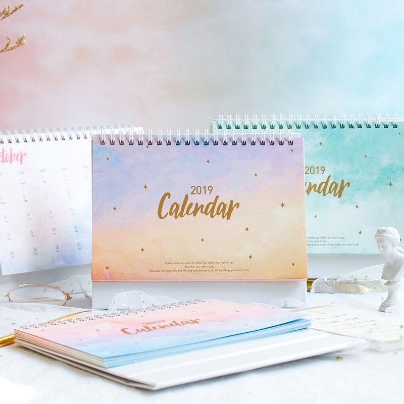 2019 NEUE Kawaii Traum Sunset Rauch Meer Kalender Spule Zeitplan Kreative Schreibtisch Tisch Termine Erinnerung Zeitplan Planer Geschenk sl1571