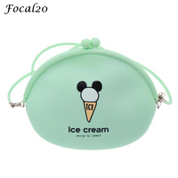 Focal20 Summer Fresh Candy Colors Messenger Bag Ice Cream Silicone Shoulder Bag Mini Purse Phone Bag