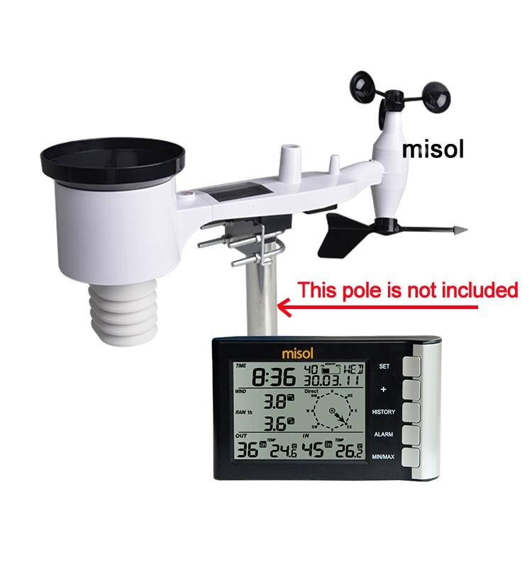 Misol/Профессиональная Метеостанция скорость ветра направление ветра температура влажность дождь 433 МГц