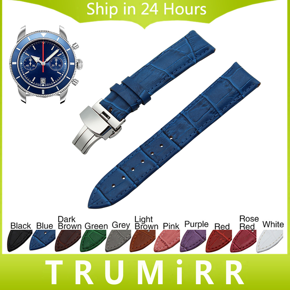 Genuine Leather Watchband Butterfly Buckle Strap + Tool for Breitling Men Women Watch Band Wrist Bracelet 18mm 20mm 22mm 24mm the golden butterfly leather leather watchband leisurely bracelet watch with 20mm common men and women