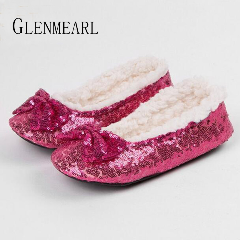 New Women Slippers Bow Winter Warm Cotton Women Home Slippers Bling Soft Female Indoor Shoes Non-Slip Flats Woman Fur Slippers25 women s winter furry slippers home non slip soft couples cotton thick bottom indoor warm rubber clogs woman shoes